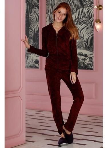 Hays Rebel Kadın Parlak Uzun Pijama Takımı Bordo